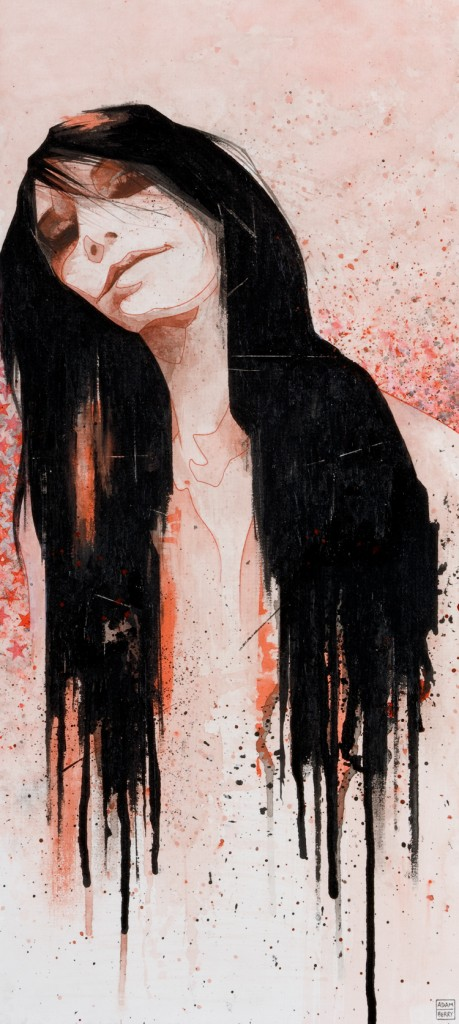 painting of a girl hair drips black ink stylised stars splatter