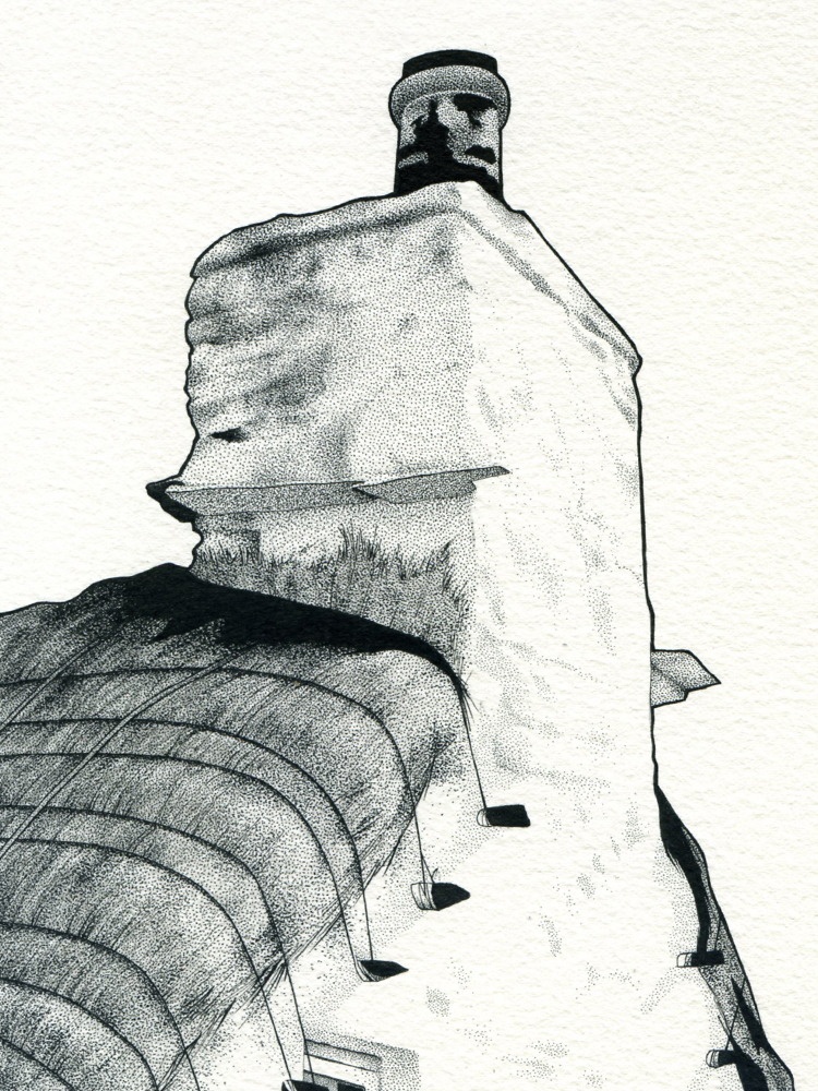 Pen and ink drawing of a cottage chimney stack