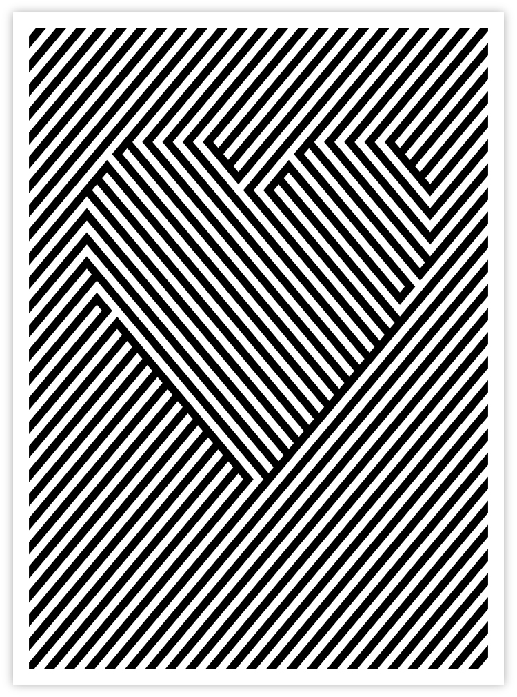 black and white lines heart optical illusion graphic
