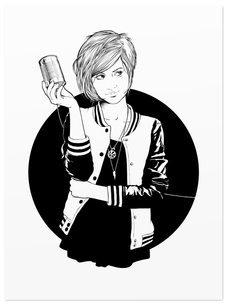 girl tin can phone