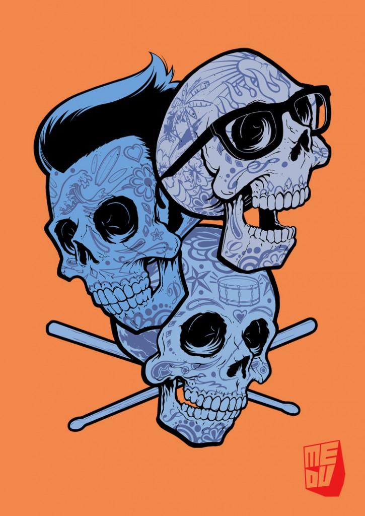 3 blue surf skulls