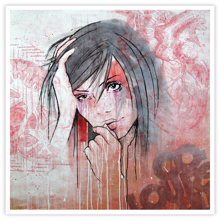 canvas painting girl hair sad drips