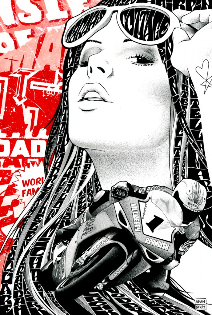 pen & ink drawing Sarah motorbike hair text lettering red collage